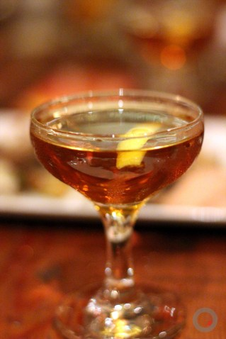 """The Full Clip"" Bulleit Bourbon, Oloroso Sherry, Benadictine, Apple Jack Brandy, Orange Bitters, Lemon Zest"