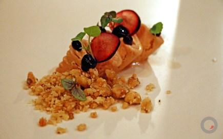 Cured foie gras mousse, pickled grapes, huckleberry gel, crumbled black walnut