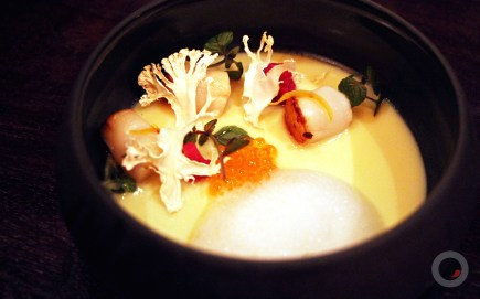 Cauliflower Chawanmushi w/ nantucket bay scallop, meyer lemon foam, trout roe, dehydrated cauliflower, dashi