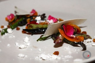 Grilled N Smoked Ricotta Salata, Charcoal Roasted Pole Beans, Fresh Apricots, Jamon Iberico Toast