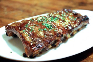 Jenga Ribs – rack slow cooked pork ribs, chili molasses glaze, benne seeds