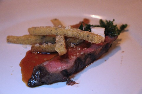 Flat-iron steak, polenta fries, bone marrow gremolata