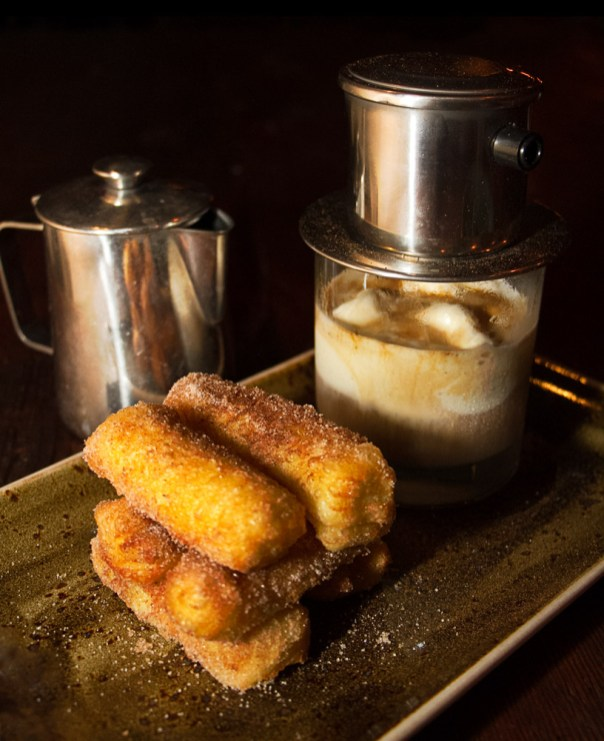 Cinnamon Sugar Donuts and Vietnamese Coffee steeped over condensed milk ice cream.
