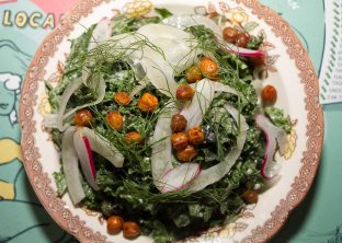 Miso-Tahini Massaged Kale – Fennel, Crispy Chickpeas
