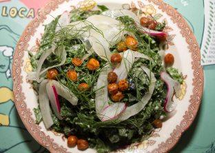 Miso-Tahini Massaged Kale – Fennel, Crispy Chickpeas
