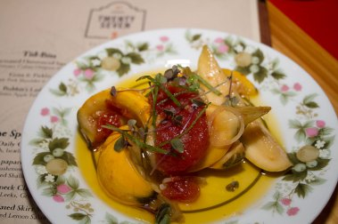 Marinated Homestead Squash – Roasted Tomato, Champagne Vinegar Cuban oregano