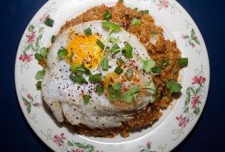Jamie's Kimchi Fried Rice – Napa & Scallion Kimchi, Sunny-Up Duck Eggs, Radish, Cilantro