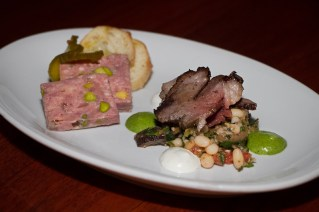 Aussie lamb pistachio terrine with sweet and spicy mustard along with roasted lamb
