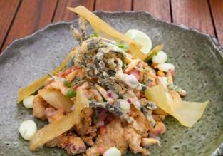 Jalea Frita – calamari, octopus, fish, shrimp, plantain chips, cebiche sauce, chalaca, yuca