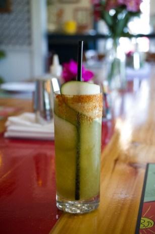 Smokey Margarita with chili reduction, fresh lime, Ancho Reyes, Del Maguey Vida