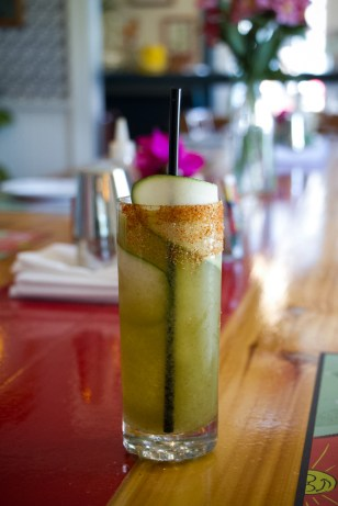Smokey Margarita with chili reduction, fresh lime, Ancho Reyes, Del Maguey Vida