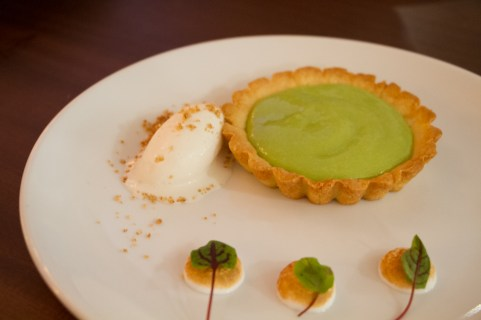 Key Lime Pie, sorrel, coconut, meringue