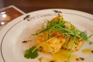 Sweet & Sour Sun Shrimp, pineapple vinegar, chili oil, minutina