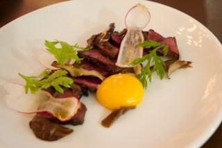 Pan-Seared Beef Heart, warm egg yolk, shitake mushroom, shungiku