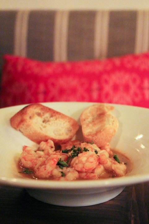 Royal red shrimp, saffron orange broth, tarragon, baguette