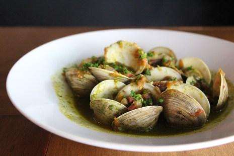 Cloïsses – middleneck clams, sofrito,diced jamón ibérico, sherry vinegar
