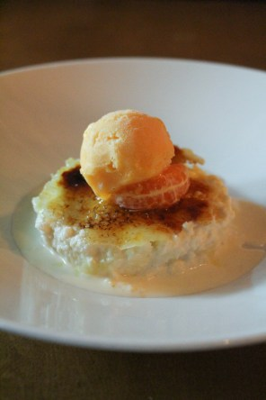 Pa Amb Llet – Bread soaked in milk, cinnamon, lemon, crema catalana brulee, tangerine gelato