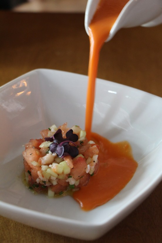Watermelon Gazpacho – shrimp, cucumber, scallions