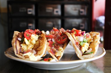 Pancake Tacos w/ Eggs, Bacon, Pico, Maple Syrup