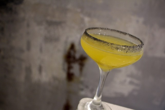 Mexican Martini – passion fruit juice, domaine de canton, herradura, hawaiian black salt rim