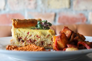 Quiche: Crab, Piquillo Pepper, Shallots, Roasted Garlic, Pimento Cheese