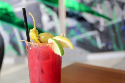 Bloody Mary is made with beets, tomato, carrots, avocado, roasted habaneros, fennel and caraway