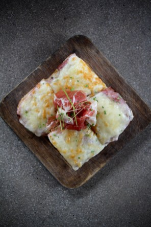 Croque Monsieur with black forrest ham, iberico ham, mornay sauce