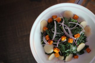 Grilled Kale Salad with sweet potato, brussels sprouts, pickled water chestnuts and buttermilk dressing