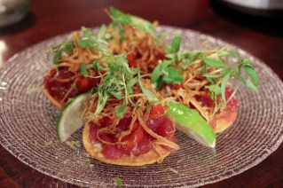 Tuna Toast with chipotle, leek and lime
