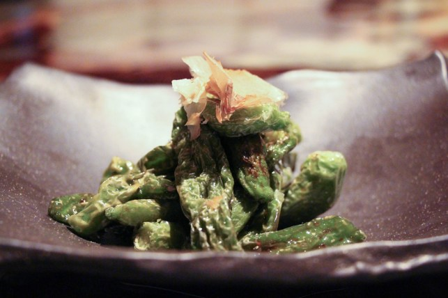 Shishito Peppers – szechuan sauce, crispy garlic, bonito flakes