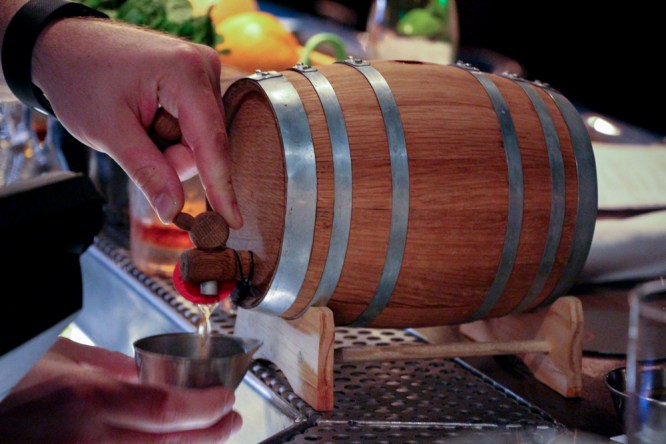 """Barrel-aged"" Negrito, a riff on the negroni fully composed and allowed to age in miniature wine barrels for 28 days."