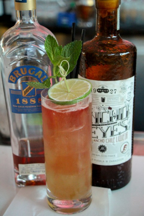 Made with Brugal 1888, Ancho Reyes, honey ginger syrup, lime and mint