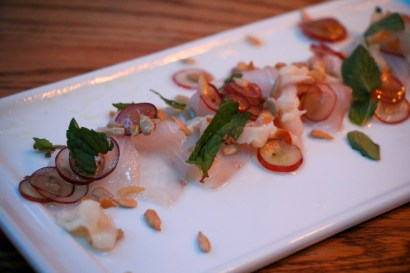 Lychee Grape Tiradito – cobia, lychee, grape, sunflower seeds & mint