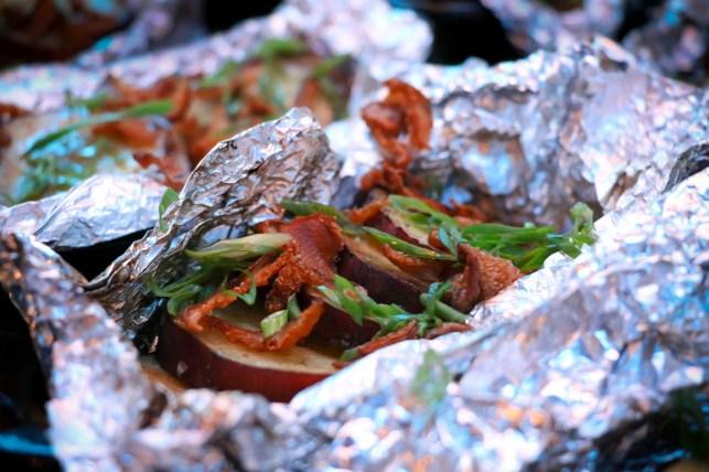 Sweet Potato w/ Shiitake Bacon – satsumaimo, shiro dashi, negi