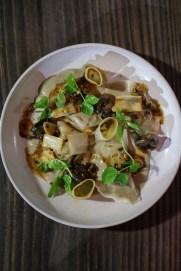 Rabbit Mezzaluna with braised escargot, mustard, leeks, pistachios, samphire