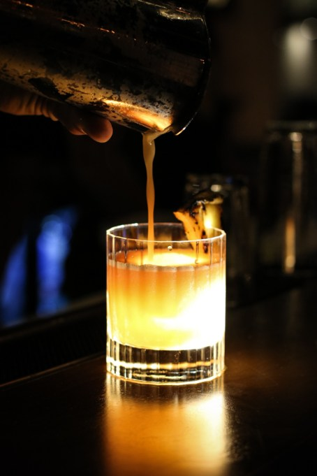 Bondi Kelly - brugal especial, carpano antica, luxardo maraschino, charred pineapple syrup, lime, pineapple