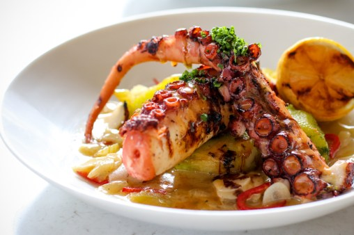 Grilled Spanish Octopus with crispy potato, red chili, celery, smoked pepper aioli