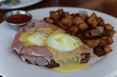 Country Ham Benedict with slow poached farm eggs, country ham and creamy hollandaise