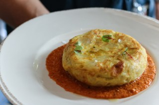 Spanish Tortilla with potato, caramelized onions and romesco