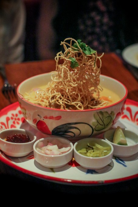 Chiang Rai Curry – egg noodle, beef, yellow curry, crispy noodles