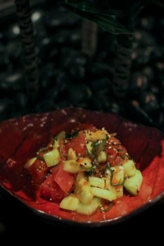 Spicy Tuna Salad – seaweed salad, cucumbers, sesame oil, masago, honey kimchee