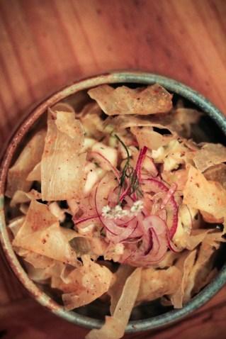 Ceviche – fresh local fish, shrimp, corn, red onion, aji limo, citrus, yucca chips