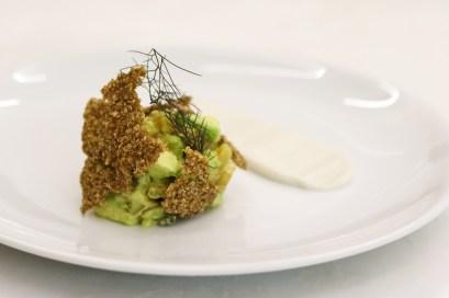 Beet & Avocado Tartar w/ sprouted quinoa wasabi yogurt & dill