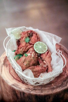 Fried Chicken with green curry, kaffir lime powder, coriander and toasted coconut