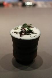 Jasmine Sour made with Jasmine Infused Sake, Yuzu Sake, Lemon Juice and Dried Egg Whites