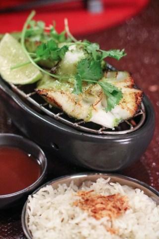 Tandoori Sea Bass with Cilantro, Mint, Ginger, Yogurt, Fennel Seeds, Indian Spices