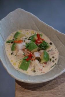 Ceviche Apaltado, sh, creamy leche de tigre, avocado, aji limo, capers, olive oil
