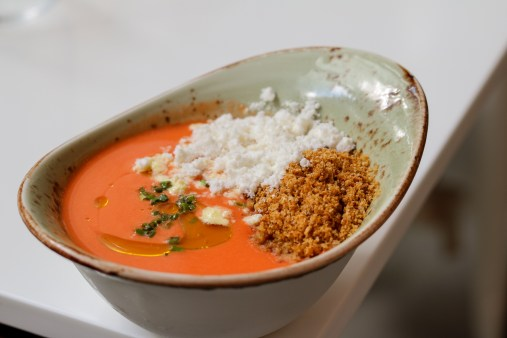 Gazpacho Andaluz - Crouton – olive oil powder – tropical delight flowers