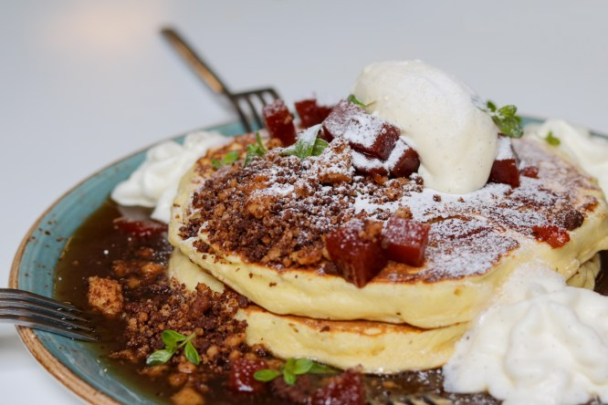 Pastelito Pancakes — Cream Cheese Mousse, Guava Preserve & Brown Butter Maple Syrup