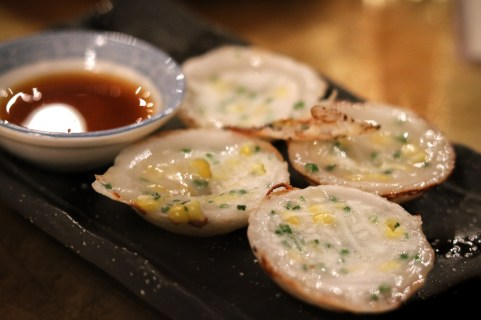 Thai Coconut Pancakes with Scallions & Corn, Shaved Fresh Coconut, Nuoc Cham